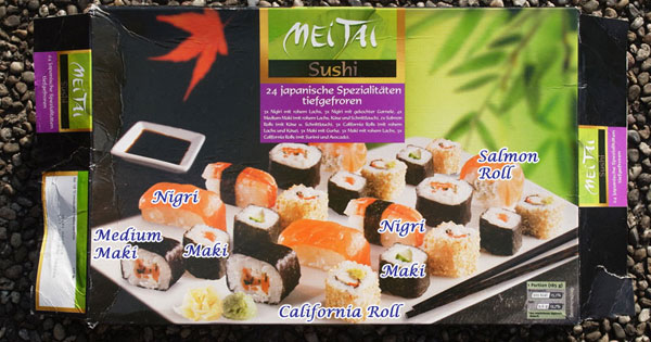 The package with added names to identify typical sushi rolls