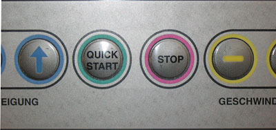 Detail showing the QUICK START and STOP buttons